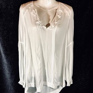 Free People White Frilly Semi Sheer Blouse, XS